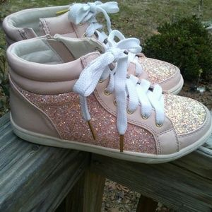 Justice pale pink glitter hightops